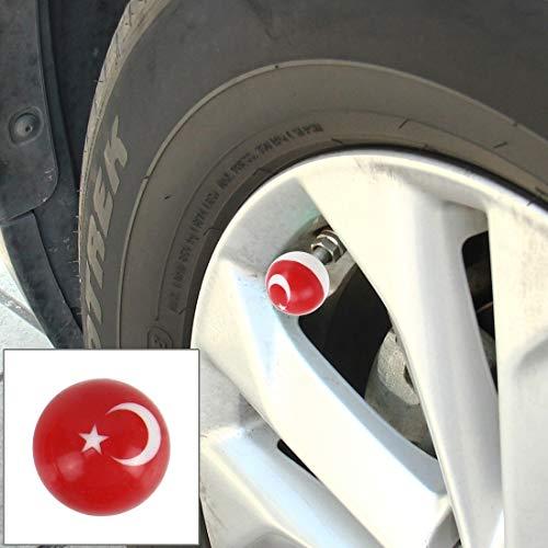 Tuzi Qoge 4 Stück Universal-Kugelhahn Cap Tankdeckel Mundstück-Abdeckung Tankdeckel Reifen Kappen-Auto-Motor-Fahrrad-Reifen Ventilkappen QiuGe (Color : Color3)