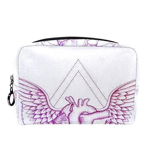 Trousse de maquillage multifonction portable avec motif cœur et ailes Couleur 10 7\