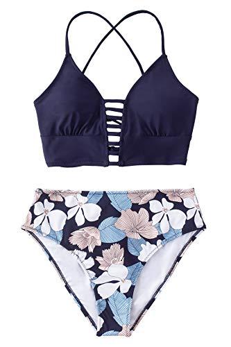 CUPSHE Damen Bikini Set mit Zierriemen Lace Up Bikini Cut Out Bademode Zweiteiliger Badeanzug Marineblau/Blumen L