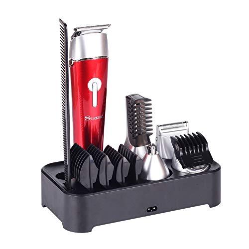 Tickos 5 in 1 Multifunktion Haarschneidemaschine Mikrorasierer Körper Epilierer Nasenhaar Trimmer Bartschneider Wasserdichter (Rot)