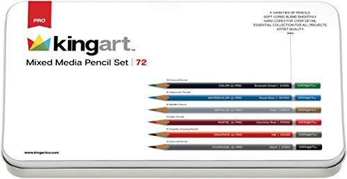 KINGART Professional Mixed Media Pencils, Set of 72, Reusable Tin Case