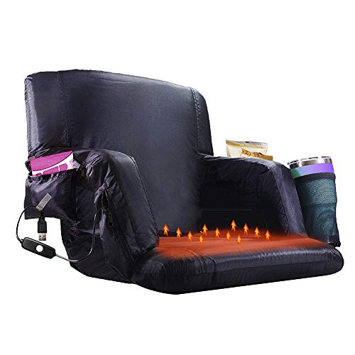 【Upgraded】 Heated Stadium Bleacher Seat, Foldable Portable Chair, 5 Reclinng Positions Back and Arm Support Thick Cushion for Outdoors Sports Camping & Indoor. (Not Include USB Power Bank)