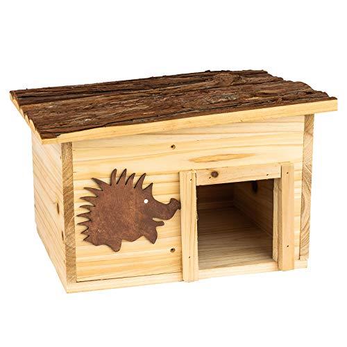 Casa para erizos con techo desmontable 32 x 26 x 22 cm | Hotel para erizos hecho de madera: Unlugar seguro para la hibernación | Refugio Cobijo Albergue Comedero -Protección ante depredadores