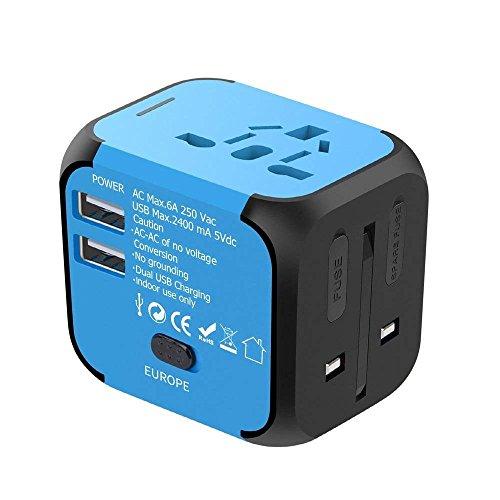 YOMYM Adaptador Enchufe de Viaje Universal Dos Puertos USB para US EU AU de 150 Países, Azul