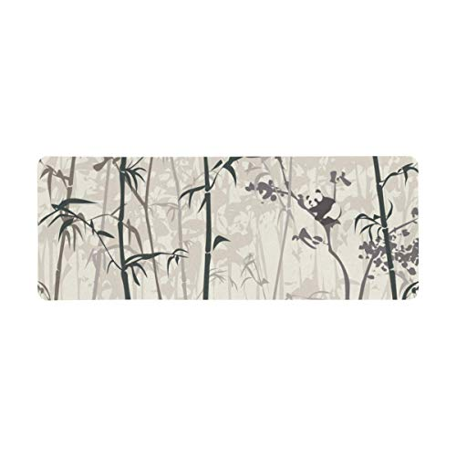 InterestPrint Soft Extra Extended Large Gaming Mouse Pad with Stitched Edges, Desk Pad Keyboard Mat, Non-Slip Base for Office & Home, 31.5 x 12In - Vintage Funny Panda in The Bamboo Forest