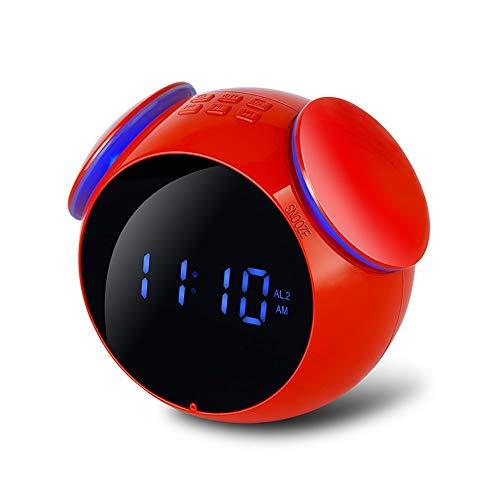 Altavoz Bluetooth inalámbrico, Mini Reloj Despertador Digital estéreo Reloj Creativo Audio portátil con indicación de Voz Inteligente para Exteriores