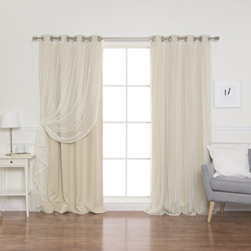 """Best Home Fashion uMIXm Mix and Match Tulle Sheer Lace and Blackout 4 Piece Curtain Set - Stainless Steel Nickel Grommet Top - Beige - 52"""" W x 84"""" L - (2 Curtains and 2 Sheer Curtains)"""