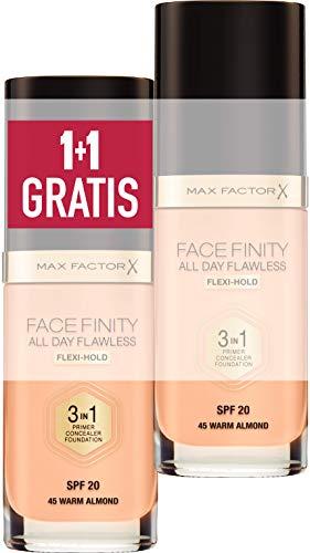 Max Factor, Coppia di Facefinity All Day Flawless 3in1, Fondotinta Liquido a Lunga Durata, 045 Warm Almond, 2 x 30 ml
