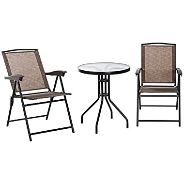 Outsunny 3 Piece Outdoor Patio Dining Bistro Table and Folding Arm Chair Set - Brown