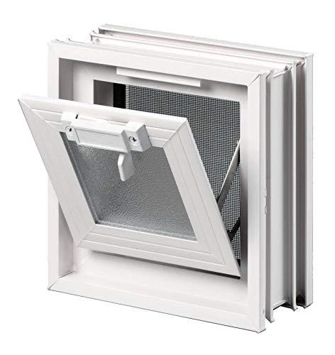 FUCHS Lüftungsfenster Beige anstatt 1 Glasstein im Format 24x24x8 cm – mit Fliegengitter