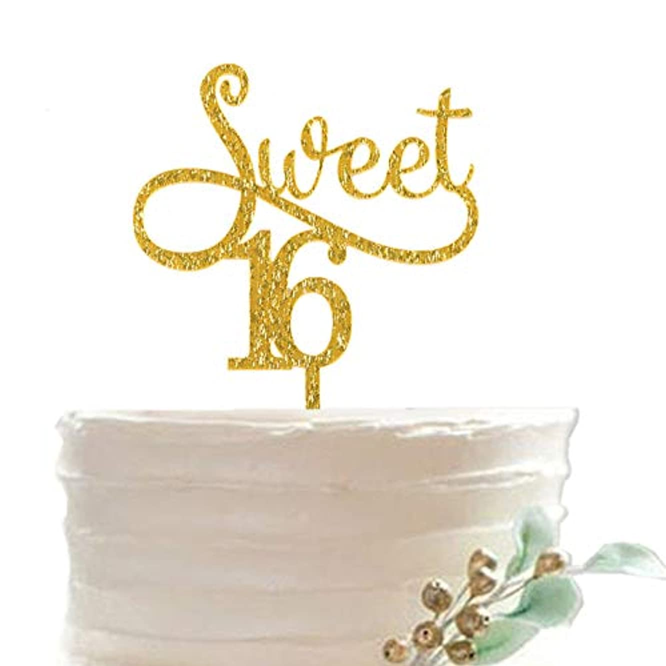 16 Years Old Birthday Decoration - Sweet 16 cake Topper for Sixteen Years Old Birthday, Gold Glitter Bling bling Acrylic 16 Year Anniversary Cake Topper