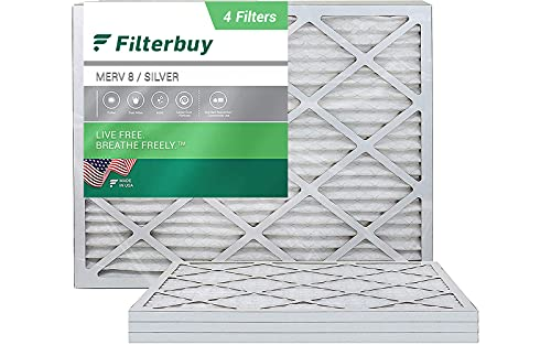 FilterBuy 16x20x1 Air Filter MERV 8, Pleated HVAC AC Furnace Filters (4-Pack, Silver)