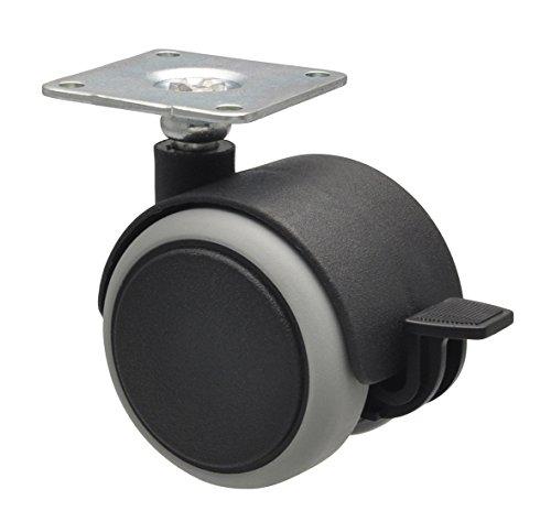 WAGNER Möbelrollen/Doppelrollen 4tlg. Set - SOFT - Durchmesser Ø 50 mm, Softlauffläche, Anschraubplatte 42 x 42 cm, 2 mit Feststeller, Tragkraft 50 kg/Rolle - 02172888