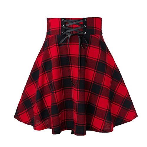 U/A Escuela Uniforme Falda De Moda A Cuadros Falda Corta Plisada De Algodón De Las Mujeres Casual Japonés Preppy Mini Falda Rojo rosso 36