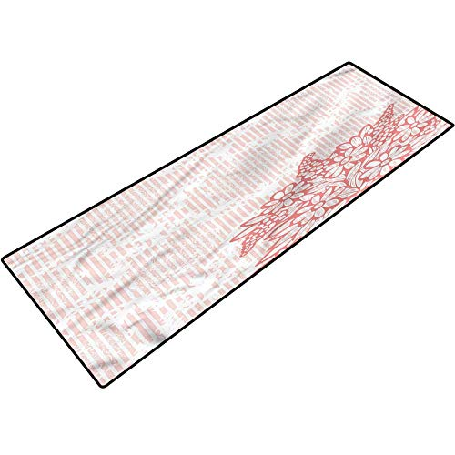 Coral Bath Mat Antique Royal Bouquet Printing Mats for Entry, Garage, Patio, High Traffic Areas 18x47 Inch