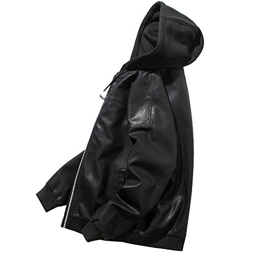 YJWSPD Ropa de Abrigo para Hombre, Invierno Hombres Slim Trench Chaqueta Larga Capa Chaqueta de cuero casual para hombre-negro_L