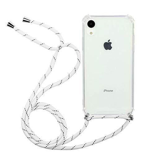 Bumina telefoonhoesje voor iPhone Xr ketting met koordriem transparant zacht TPU siliconen mobiele telefoon schouderriem beschermend hoesje met hals koord Lanyard riem voor iPhone Xr iPhone Xr Kleur: wit