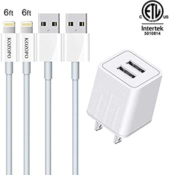 2-Pack Kozopo 6Ft Fast Charging Lightning Cable with Wall Charger