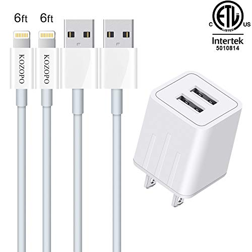 iPhone Charger, KOZOPO Lightning Cable 6FT(2-Pack) Fast Charging Data Sync Transfer Cord with 2 Port USB Plug Wall Charger Travel Adapter Compatible with iPhone 11 Pro Max XS XR X 8 7 Plus 6S 6 iPad