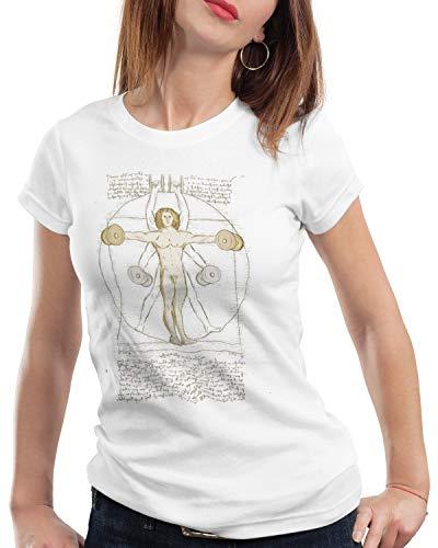 style3 Vitruvianischer Mensch mit Kurzhantel Damen T-Shirt Butterfly Rudern Training, Farbe:Weiß, Größe:M
