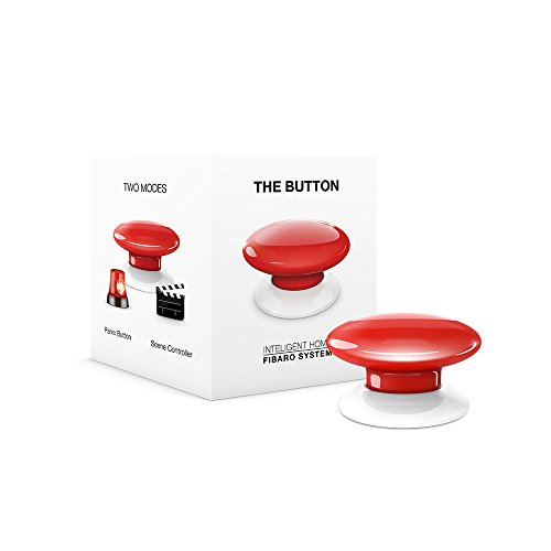 FIBARO The Button Z-Wave Plus Scene Controller On-Off Trigger, FGPB-101-3, Red
