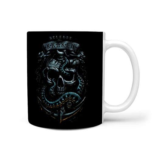 Divertida taza de café de cerámica, diseño vintage de calavera y ancla, impresión de fantasía, color blanco, 330 ml