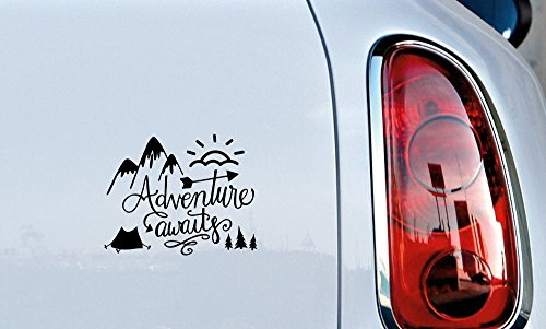 Adventure Awaits Mtn Sun Tent Car Vinyl Sticker Decal Bumper Sticker for Auto Cars Trucks Windshield Custom Walls Windows Ipad Macbook Laptop Home and More (Black)
