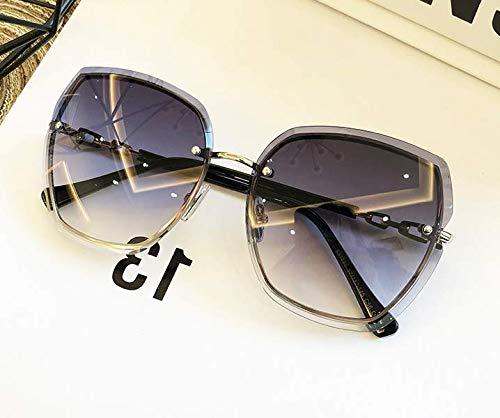 N+A Randlose Sonnenbrillen für Frauen-mit schön case -Beliebte cool Aussehen-Wählen können Zwei Farben(grau/kaffeebraun)-Eine gepflegte Technik -Übergroße randlose Diamant-Schneidlinse(grau)