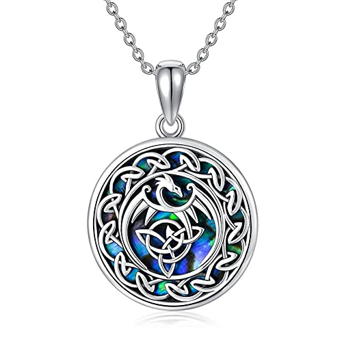 VENACOLY Dragon Necklace for Women Sterling Silver Abalone Celtic Knot Pendant Necklaces Viking Jewelry Gifts for Women Men