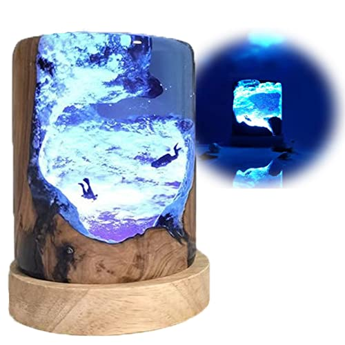 N A luz nocturna epoxi Diver lámpara de cabecera redonda con base de madera artificial lámpara de mesa creativa luz de noche LED atmósfera luz para decoración del hogar, lámpara de mesa