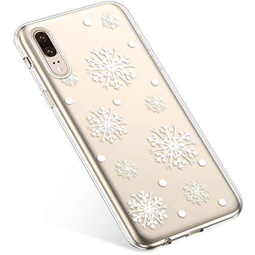 Uposao Kompatibel mit Handyhülle Huawei P20 Schutzhülle Transparent Silikon Schutzhülle Handytasche Crystal Clear Durchsichtige Hülle TPU Cover Weich TPU Bumper Case,Weiß Schneeflocken