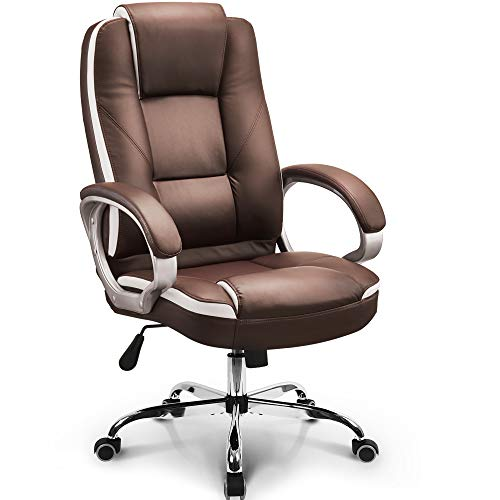 Neo Chair Office Chair Computer Desk Chair Gaming - Ergonomic High Back Cushion Lumbar Support with Wheels Comfortable Brown Leather Racing Seat Adjustable Swivel Rolling Home Executive brown chair gaming
