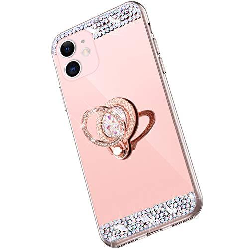 Saceebe Compatible avec iPhone 11 Coque Brillante Diamant Paillette Strass Etui Miroir Housse Glitter Bling Silicone TPU Housse Anneau Support 360 Degrés de Rotation Bague,Or Rose
