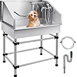 VEVOR Dog Grooming Tub 38 Inch Stainless Steel Professional Pet Bathing Tub Station Small Medium Pet Grooming Tub Wash Shower Sink with Faucet and Accessories Dog Washing Station Pet Bath Tub