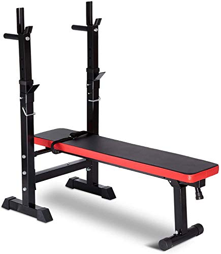 Adjustable Folding Fitness Barbell Rack & Weight Bench Set for Home Gym, Strength Training w/Incline & Decline Capability, Padded Faux Leather