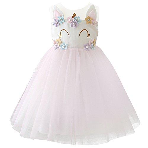 IWEMEK Kinder Einhorn Geburtstag Ankleiden Cosplay Kleid Halloween Kostüm Prinzessin Ärmellos...