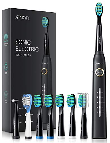 Sonic Toothbrush, ATMOKO Electric Toothbrush for Adults with 40000VPM 8 Brush Heads 5 Modes, Whitening Sonic Toothbrushes Turbo Clean Like a Dentist Rechargeable 4 Hours Charge Minimum 30 Days -HP126A