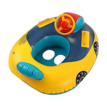 Cute Child Kids Inflatable Pool Float PVC Summer Swim Float Air Bed Lake Boat Swimming Floats with 2 Handles Surfing Raft Bodyboard Floating Mattress Seat Swim Ring for Girls Boys 1-5 Years