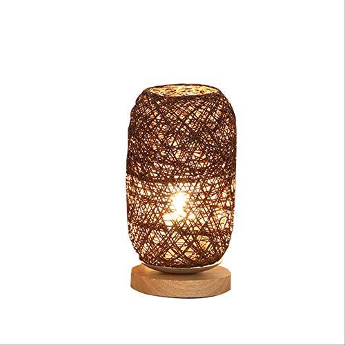 Tafellampen ZWRY Uniek ontwerp Hoogwaardig hout Rotan Twine Ball Lights Tafellamp Kamer Home Art Decoration Bureaulamp Volledig licht Scherm 14x12x23cm Bruin