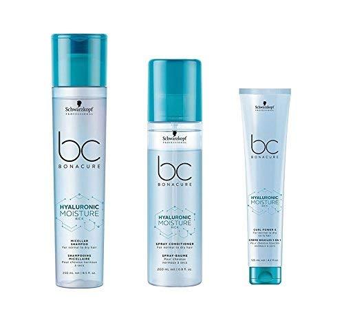 Schwarzkopf Bonacure Hyaluronic Moisture Kick Micellar Shampoo 250ml, Spray Conditioner 200ml and Curl Power 5 125ml