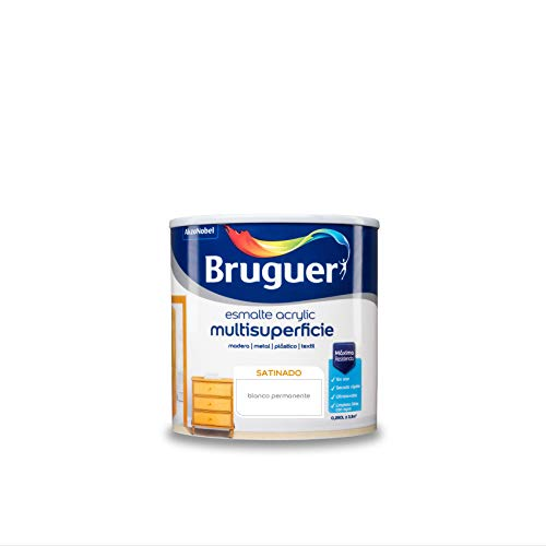 Bruguer Acrylic Multisuperficie Esmalte al agua Satinado Blanco Permanente 250 ml