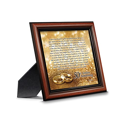 Crossroads Home Décor 50th Wedding for Parents, 50th Anniversary Decorations for Party, Golden Anniversary 50 Year Gifts, 50th for Couples, Gift to add to Your 50th Anniversary Card 8608W