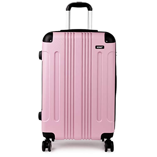 Kono ABS Light Weight Hard Shell Luggage Medium Travel Trolley Checked Suitcase 4 Wheel Spinner Pink (24-inch)