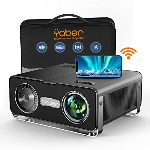 Beamer, YABER 8500 Lumen WiFi Bluetooth Beamer 1080P Full HD Beamer, z 4-punktową korekcją trapezu, wyświetlacz 4K 300