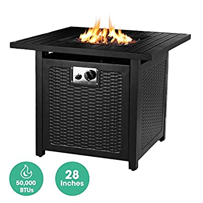 """OKVAC 28"""" Propane Gas Fire Pit Table, 50,000 BTU Square Fire Bowl, Outdoor Auto-Ignition Fireplace with CSA Certification, Waterproof Cover, Lava Rock, for Balcony/Garden/Patio/Courtyard"""
