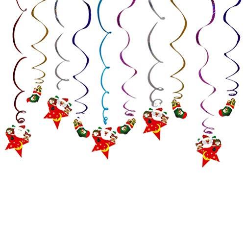 Colgante navideño creativo Remolino Colgante de techo Colorido Papá Noel Serpentinas en espiral Calcetines navideños colgantes Tarjeta Colgante Remolinos Decoraciones para fiestas navideñas Acces