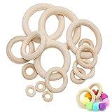 mengger Holzring, Holz Ringe Hölzern für Basteln DIY Handwerk Ring Anhänger und Anschlussstück Schmuck Machen Baby Spielzeug Säugling Rattle Toys 40 Stück Holzring