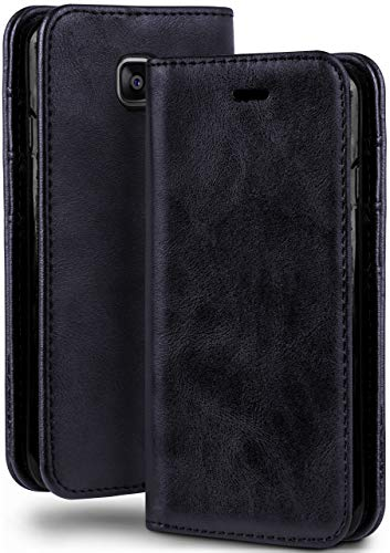 moex Booklet in Lederoptik - Kartenfächer & Aufstellfunktion kompatibel mit Samsung Galaxy Xcover 4 | Eleganter 360 Grad Vollschutz, Dunkel-Blau