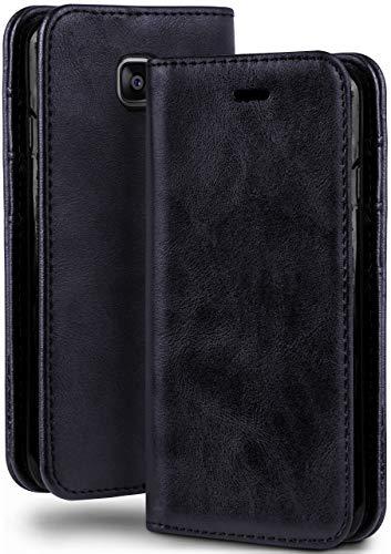 moex Booklet in Lederoptik - Kartenfächer und Aufstellfunktion passgenau für Samsung Galaxy Xcover 4   Eleganter 360 Grad Vollschutz, Dunkel-Blau