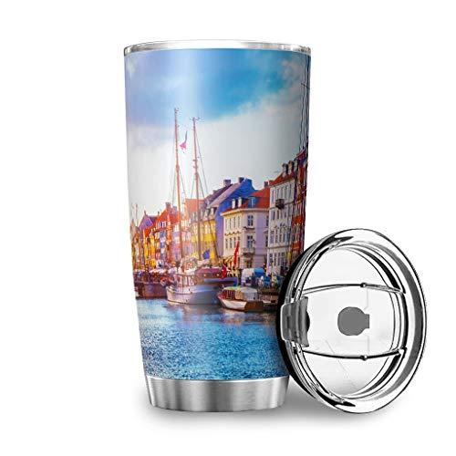 Yzanswer City Digital Print - Taza de café con aislamiento al vacío de acero inoxidable superior a prueba de derrames para bebidas calientes y frías, 600 ml, color blanco